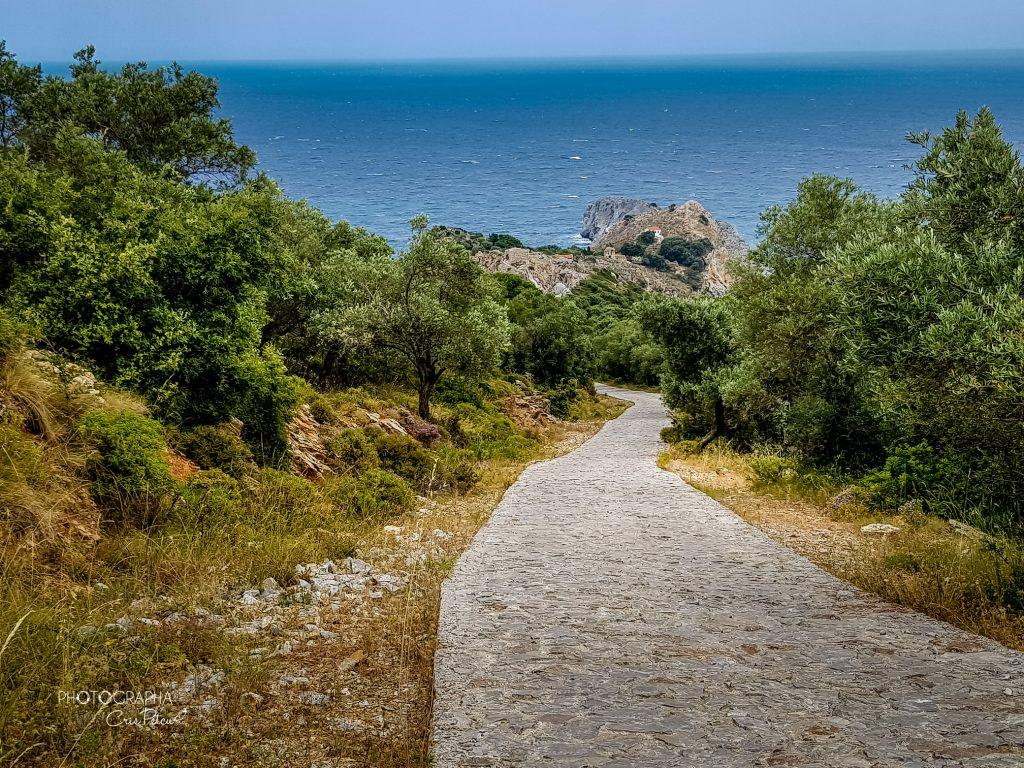 Drumul către Kastro;  în depărtare se pot vedea stâncile pe care a fost construită cetatea - Skiathos, Grecia