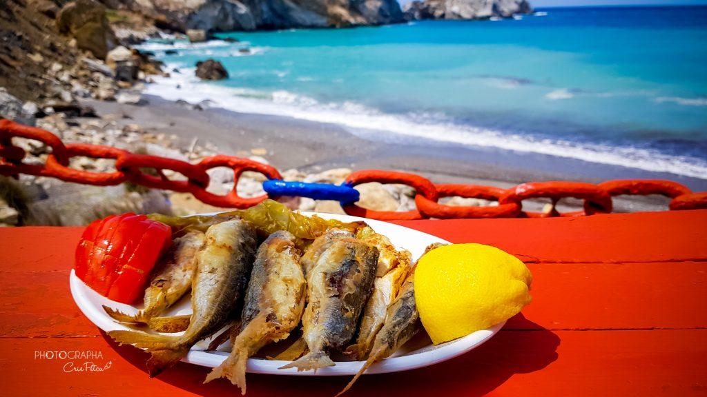 Pește (stravrid)  la Beach bar Kastro, Skiathos Grecia