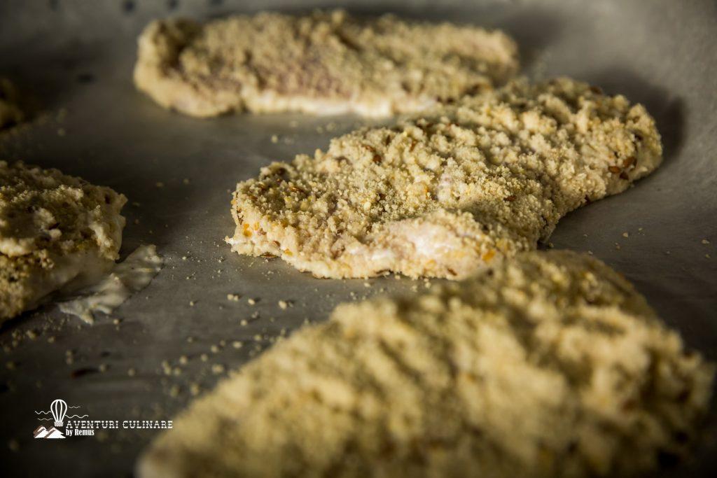 Șnițel de pui cu iaurt - Aranjare în tavă