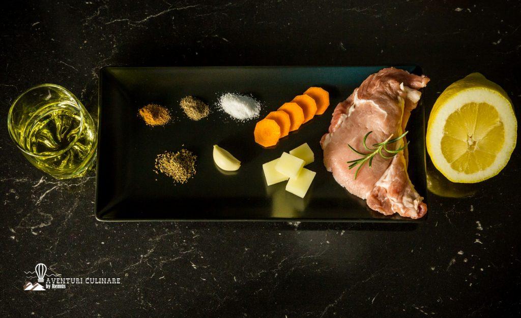 Ingrediente ceafă de porc și legume la cuptor