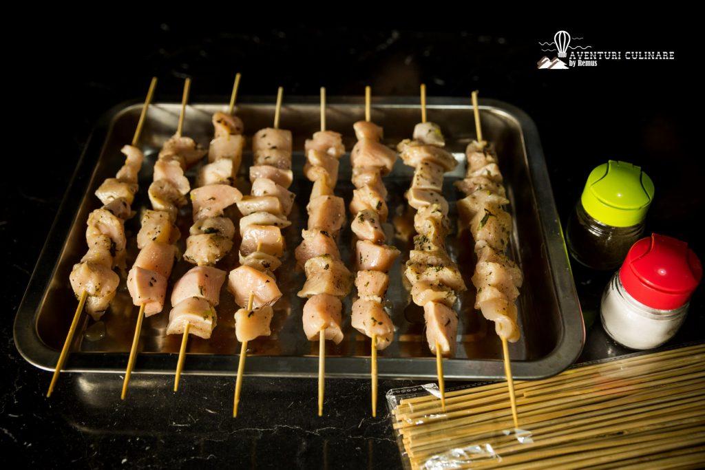 Souvlaki de pui - pregătit pentru cuptor